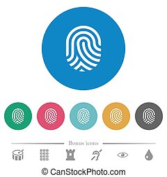 Fingerprint flat round icons - Fingerprint flat white icons...