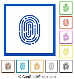 Fingerprint framed flat icons - Set of color square framed...