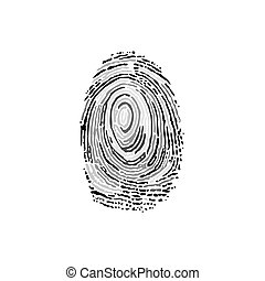 Black and white finger print isolated on white background
