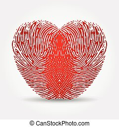 Fingerprint heart on a white background with a shadow
