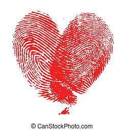 fingerprint heart on white background