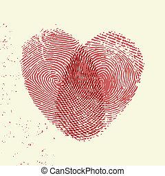Fingerprint heart - Valentine background (red fingerprint on...