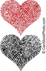 fingerprint hearts - heart shapes with fingerprint texture, ...