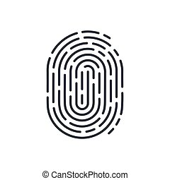 Fingerprint Icon for Identity Person Security ID on White...