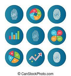 Fingerprint icons. Identification signs.
