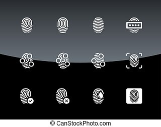 Fingerprint icons on black background.