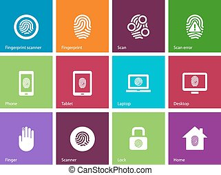 Fingerprint icons on color background.