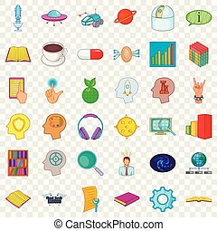 Fingerprint icons set, cartoon style