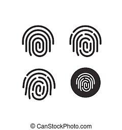 Fingerprint icons set vector, round shaped fingerprint symbol