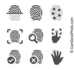 Fingerprint icons - Simple set of fingerprint related vector...