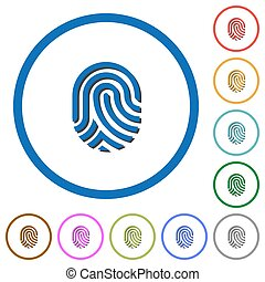 Fingerprint icons with shadows and outlines - Fingerprint...
