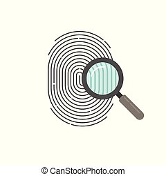 Fingerprint identification check or access approved vector icon, flat cartoon design of thumb print and magnifying glass with checkmark symbol, accepted identity scan pictogram isolated clipart
