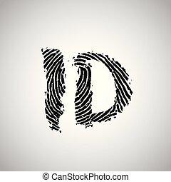 Fingerprint illustration with 'ID', vector