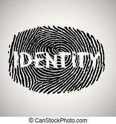 Fingerprint illustration with 'identity', vector