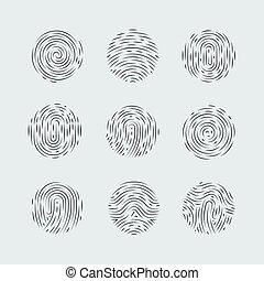 Fingerprint - Abstract Round Fingerprint Patterns Detailed...