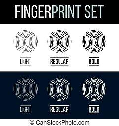 Fingerprint - Abstract Biometric Fingerprint Icons Set,...