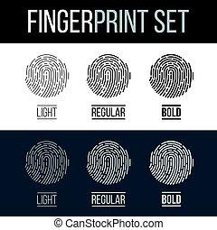Fingerprint Icons Set, Future Identification Authorization...