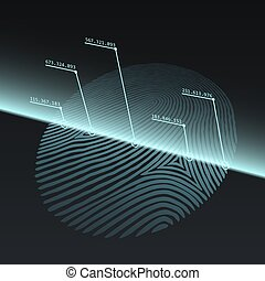 Fingerprint Imprint Technology Concept. Fingerprint Scanned...