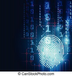 Fingerprint integrated in a printed circuit, releasing binary codes. finger print Scanning Identification System. Biometric Authorization and Business Security Concept. Vector illustration background