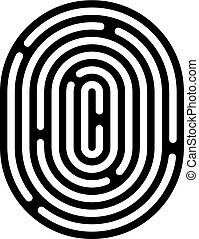 Fingerprint linear icon. Security measure, preventing crime, checking identity, electronic reading concept. Graphic design element for web, mobile app. Isolated on white background. Vector illustration