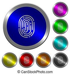 Fingerprint luminous coin-like round color buttons -...