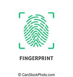 Fingerprint of Person Poster with Text Vector - Fingerprint...