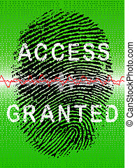 Fingerprint on a Green Biometric Scanner - Finger placed on...