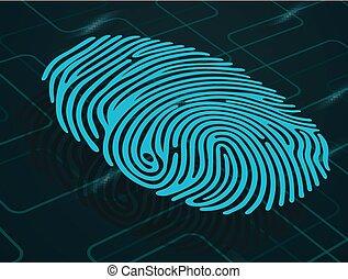 Fingerprint on abstract background - Illustration of...