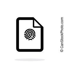 Fingerprint on file icon on white background. Vector...
