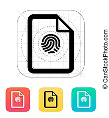 Fingerprint on file icon. Vector illustration.