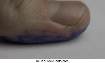 Fingerprint on police paper. Fingerprints of a male being...