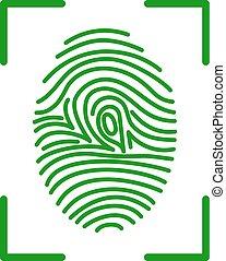fingerprint on scanner access - fingerprint green icon image...