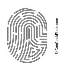 Fingerprint or fingertip print pattern vector isolated icon...