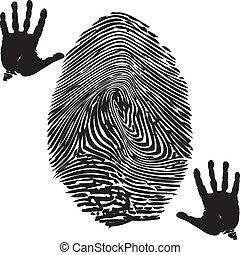Fingerprint-Palm print - Illustration of fingerprint and...