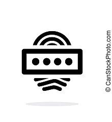 Fingerprint password icon on white background.