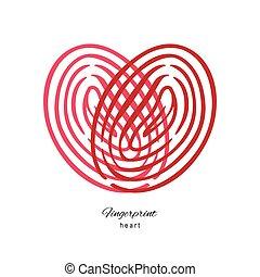 Fingerprint Red Heart Isolated On White Background