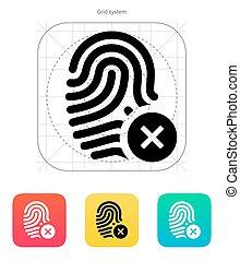 Fingerprint rejected icon. Vector illustration.