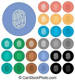 Fingerprint round flat multi colored icons