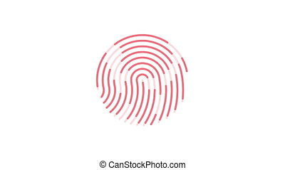 animation of scanning and analysis fingerprint on mobile device