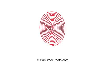 animation of scanning and analysis fingerprint on mobile...