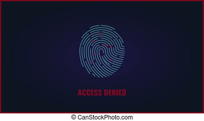 Fingerprint scan animation. Security authorization access denied video