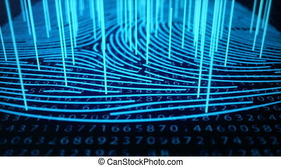 Fingerprint scan provides security access with biometrics identification. Concept Fingerprint protection with binary code. Concept of digital security. 3D animation