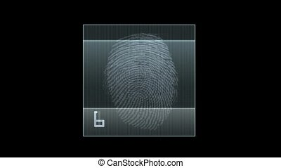 fingerprint scan, technology background, seamless loop