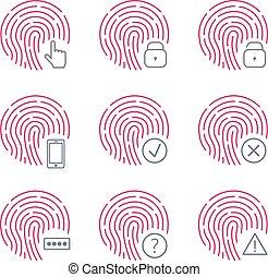 Fingerprint scanner icons on white background. Vector illustration.