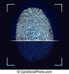 Fingerprint scanner,identification system.Vector.