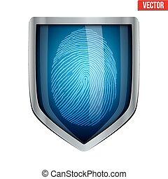 Fingerprint scanner inside the shield. The concept of protection