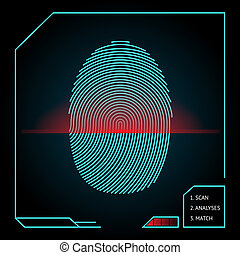 Fingerprint scanning and identification showing a blue whorled print with a red scanner beam on an electronic device for access and security vector illustration