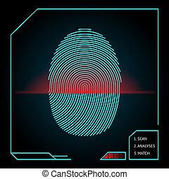 Fingerprint scanning and identification showing a blue ...