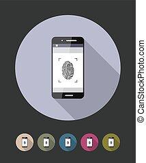Fingerprint scanning phone. Vector flat style illustration.
