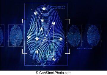 Fingerprint Scanning Technology Concept Illustration. Fingerprint Searching Software. Identity Check.